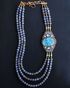 """Labradorite & Grey Agate Necklace, Gorgeous Huge Oval Labradorite Cabochon Grey Agate Round Beads Swarovski Crystals Embroidered Panel 3 1/2"""" long Length: Approx. 29"""" Shortest Strand Including Clasp 2"""" Extender, Backed By Ultrasuede"""