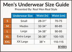 Boxer Brief Size Chart