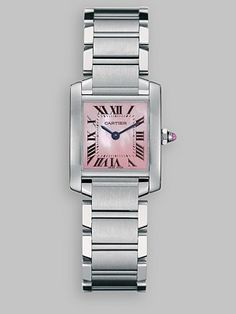 On my wish list:  Cartier - Tank Francaise Stainless Steel Watch with MOP Dial on Bracelet, Small - Saks.com