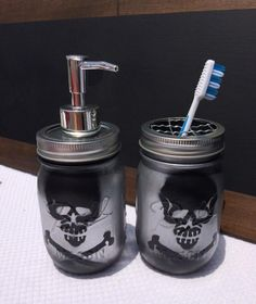 Skull Bathroom Decor for Fun and Entertaining Decor Gothic Bathroom, Master Bathroom, Halloween Bathroom, Mason Jar Soap Dispenser, Soap Dispensers, Goth Home Decor, Skull Decor, Gothic House, Household Items