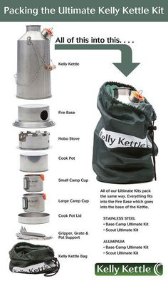 The Kelly Kettle Ultimate Camping Kit. Awesome camping kettle, camping stove - all around best camping gear you can buy. Great for hiking and backpacking. Ideal backpacking stove as it uses all natural fuel. Check out the Scout Kelly Kettle Kit http://www.kellykettleusa.com/ultimate-aluminum-scout-kit.html $142.99. Must have camping equipment. GET IT NOW OR PIN IT! #CampingKettle
