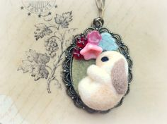 Handmade bunny pendant necklace needle felted by NozomiCrafts, $20.00