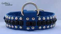 Blue Leather Dog Collar with Pyramid Studs by guillensleather, $30.00