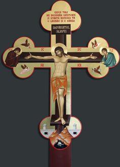 - Rastignirea Mantuitorului - cruce pentru Sfanta Masa altar Religious Icons, Religious Art, Church Icon, Roman Church, Byzantine Icons, Orthodox Christianity, Holy Cross, Medieval Armor, Wall Crosses