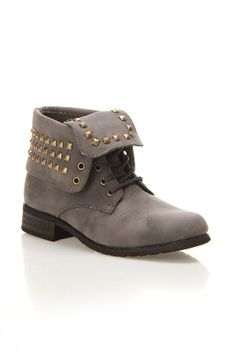 Carrini Galswinthe Studded Military Foldover Boot In Gray Item CAR52560GYS