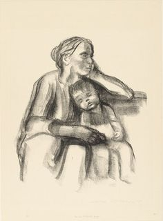 Käthe Kollwitz. Worker Woman with Sleeping Child (Arbeiterfrau mit schlafendem Jungen). (1927)