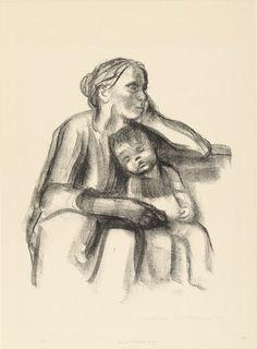 Käthe Kollwitz. Worker Woman with Sleeping Child (Arbeiterfrau mit schlafendem Jungen). (1927)