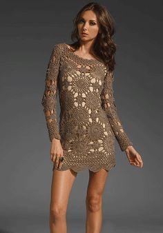Long Sleeve Crochet Dress grafico - Pesquisa Google
