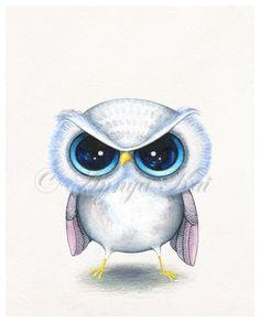 Funny Grumpy Owl - Cute Kawaii Baby Bird - NEW Painting Print by Annya Kai