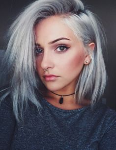 grey, hair, short hair