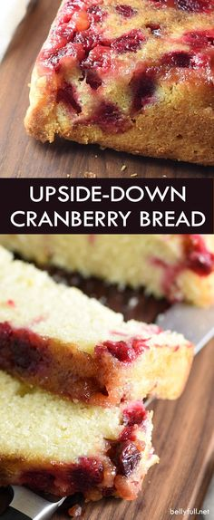 This upside down quick bread is buttery and moist, with a sweet and tangy brown sugar cranberry topping and orange zest speckled throughout. Perfect for the holidays. So easy and good!