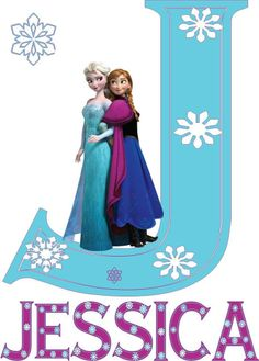 Disney Frozen Elsa and Anna Name and Initial Iron on Transfer #2