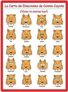 PRODUCT IN SPANISH: La Carta De Emociones De Connie Coyote (Chart of Connie Coyote's Faces of Feelings)