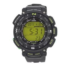 Casio Men's PAG240-1BCR Pathfinder Amazon Triple Sensor Solar Digital Watch Casio. $180.00. 1/100th second stopwatch; Countdown timer. Pathfinder tough solar power multi-function sport watch. Full auto EL backlight; 5 alarms; Sunrise and sunset data. Water-resistant to 330 feet (100 M). Triple sensor; Altimeter, barometer and thermometer; Compass