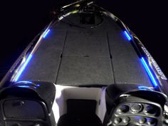 Blue LEDs on front deck of a Skeeter Bass Boat by Way Kul-LED Available at www.waykul-led.net