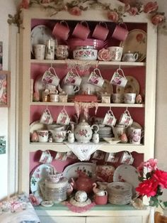 Pink rose dish collection in vintage hutch Just in time for tea time! Having the feeling of going back in time! Aline
