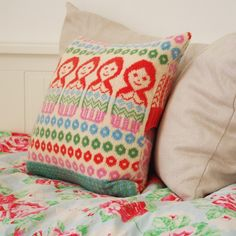 Dolly Mix Fairisle Knitted Cushion Pillow Soft by clovaknits