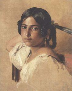 Study of Italian girl, 1834 - Franz Xaver Winterhalter - WikiArt.org