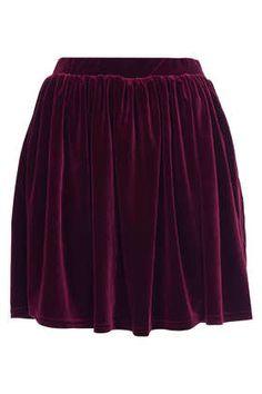 TOPSHOP Burgundy Velvet Skater Skirt - New In This Week