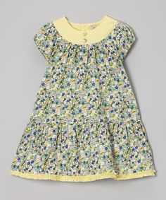 This Green & Yellow Floral Drop-Waist Dress - Infant & Toddler by Alouette is perfect! #zulilyfinds