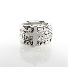 God Gave Me You Personalized Stackable Ring Engraved Stamped Birthstone Ring