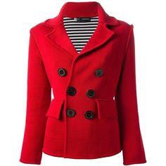DSQUARED2 double breasted coat ($1,405) ❤ liked on Polyvore featuring outerwear, coats, jackets, coats & jackets, tops, dsquared2, red double breasted coat, double-breasted coat, long sleeve coat and red coat