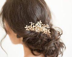 Gold Bridal Comb, Wedding Hair Comb, Gold Wedding Headpiece, Pearl Wedding Comb, Gold Leaf Bridal Comb