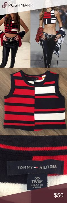 """Tommy Hilfiger crop top like Gigi Sz Xs This is stretchy Cotton Knit Sz Xs measures 15"""" across the chest. 14"""" long. Wore 1 time. Tommy Hilfiger Tops Tank Tops"""