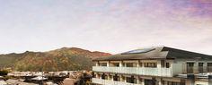 嵐山の山並と外観完成予想図