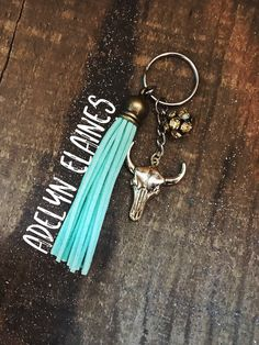 Gold+Bullhead+with+Mint+Tassel+and+Champagne+Rhinestone+Bead+Accent