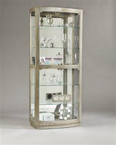 Madison Modern Silver Wood Gl Door Curio
