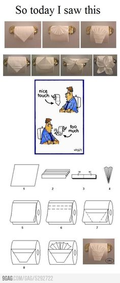 Toilet Paper Origami - LOL the comic portion.  @Jaycey Ward Ward  ...you might come home to this, I know you like the simple fold at hotels/when you cleaned houses.