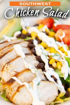 SOUTHWEST GRILLED CHICKEN SALAD is light, healthy and fresh - full of vegetables and topped with warm spicy chicken, avocado and a creamy cilantro dressing. #southwest #chicken #chickensalad #saladrecipe