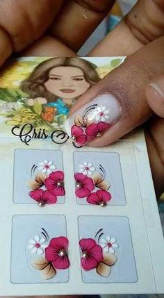 Resultado de imagen para Adesivos De Unhas Artesanal pinterest Nails & Co, Toe Nails, Nail Designs Spring, Toe Nail Designs, Nails Decoradas, One Stroke Nails, Foto Art, Little Flowers, Painting Lessons