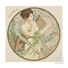 April, 1899 (Detail) Giclee Print by Alphonse Mucha at Art.com