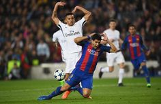 Luis Suarez of Barcelona is challenged by Marquinhos of PSG for a penalty during the UEFA Champions League Round of 16 second leg match between FC Barcelona and Paris Saint-Germain at Camp Nou on March 8, 2017 in Barcelona, Catalonia.