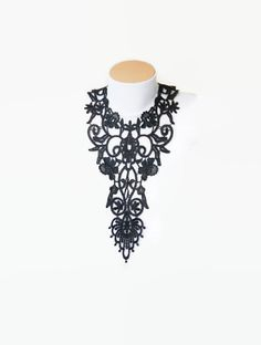 NECKLACE-FREE SHIPPING Special Black Applique Necklace, Lace Jewelry , Bridesmaid Accessories, Woman Applique