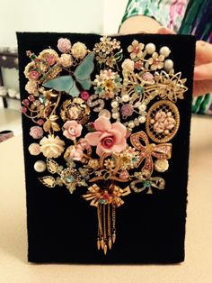 This Vintage jewelry bouquet is made from pastel's for Sue's birthday.