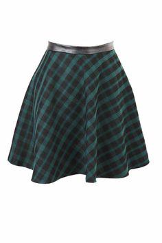 Green Tartan Skater Skirt With PU Waistband