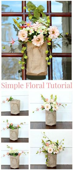 Simple Floral Video Tutorial  - How to make your own burlap and floral door decor!