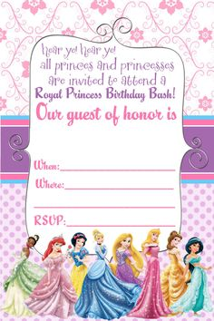 Disney princess birthday invitation free to download and edit free printable disney princess birthday invitations filmwisefo