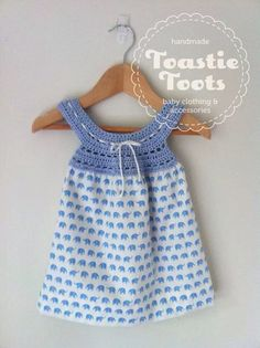 'Blue elephant' crochet dress by Toastie Toots,100% cotton fabric and bamboo crochet yoke.