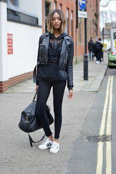 "runwayandbeauty: ""Jourdan Dunn looked sporty chic outside Moschino Fall 2015 Menswear in London. Source: fashion bomb daily """