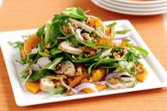 Maple-roasted pumpkin and chicken salad . add feta and semi dried tomatoes? Light Chicken Recipes, Chicken Salad Recipes, Healthy Salad Recipes, Roast Pumpkin Salad, Chicken Pumpkin, Maple Chicken, Crispy Chicken, Roast Chicken, Soup And Salad