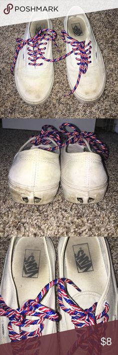 white vans, W8 pretty worn out, cute American laces. I just need money to go to an orphanage in Jamaica. haha. WILL CLEAN EM Vans Shoes Sneakers
