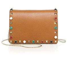Valentino Rolling Rockstud Flap Chain Pouch (111.920 RUB) ❤ liked on Polyvore featuring bags, handbags, clutches, apparel & accessories, cognac, beige leather purse, beige purse, valentino purses, chain strap handbags and valentino handbags