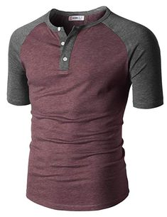 Men Slim Fit Henley Raglan Short Sleeve Contrast Color Block Casual Baseball T-Shirt Burgundy US M/Asia L Mens Cotton T Shirts, Polo T Shirts, Stylish Mens Outfits, Men's Wardrobe, Men Style Tips, Mens Clothing Styles, Casual Shirts, Shirt Designs, Men Casual