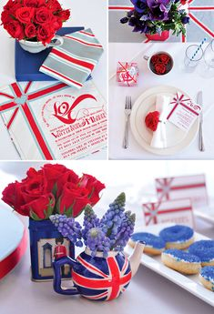 """British Invasion"" Bridal Brunch—cute accents❣ Two pieces of silk with the printed invitation on one side & stripes on the other—made as a keepsake (upper right)❣ Men can use it as a pocket scarf❣ Hostess with the Mostess®"