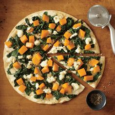 Butternut Squash Pizza with White Sauce, Spinach, and Goat Cheese - Healthy Butternut Squash Recipes - Cooking Light