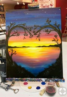 Drawings Ideas 40 Acrylic Painting Ideas For Beginners · Brighter Craft - Need some painting inspiration? Well you've come to the right place! Here's a list of 40 acrylic paining ideas for beginners. Canvas Painting Tutorials, Easy Canvas Painting, Diy Canvas, Diy Painting, Canvas Art, Sunset Acrylic Painting, Acrylic Canvas, Sunset Paintings, Acrylic Paintings